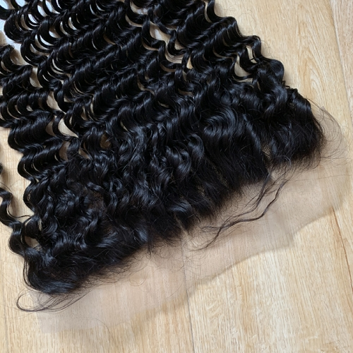 Osolovelybeauty Transparent Lace Loose Deep Wave Pre Plucked Lace Frontal Closure 13X4 with Baby Hair Human Hair Free Part Color 1b Remy Hair