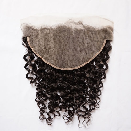 Osolovelybeauty Water Wave 13x6 Transparent/Medium Brown Lace Lace Frontal Closure With Baby Hair 10-20inch Human Hair Frontal