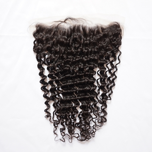 Osolovelybeauty Deep Wave 13x6 Transparent/Medium Brown Lace Lace Frontal Closure With Baby Hair 10-20inch Human Hair Frontal