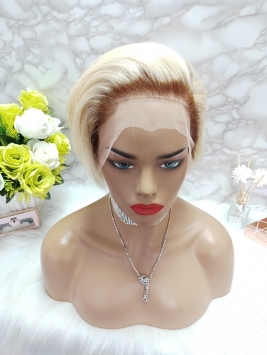 Osolovely Beauty Blonde Color Pixie Cut Short Bob Wig 150% Density 13x6 Lace Front Bob Wig