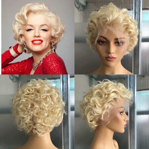 Osolovely Beauty Blonde Color Pixie Cut Short Bob Wig 150% Density 13x6 Blonde Curly Lace Front Bob Wig